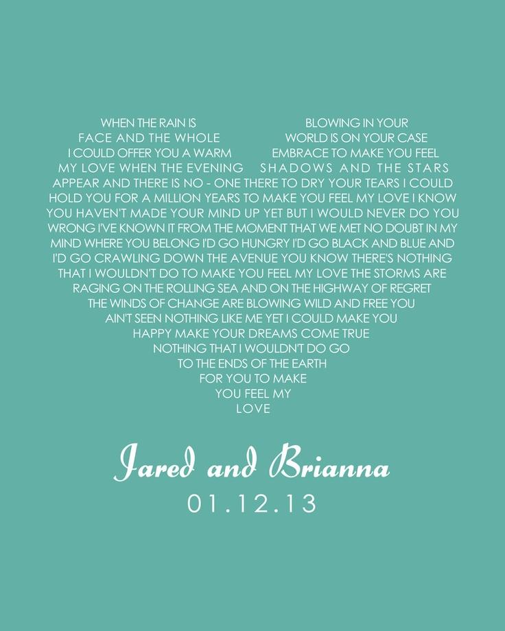 Heart Wall Art - Wedding Vows First Dance Lyrics Poem Printable. $10.00, via Etsy.