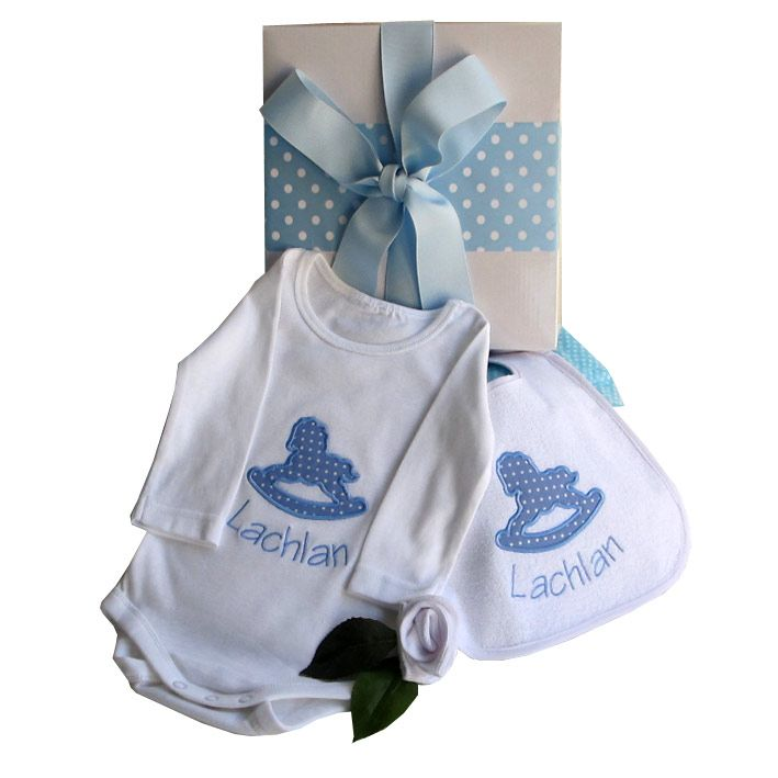 Beautiful personalised baby suit and bib set.