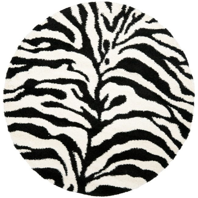 Safavieh Zebra Shag Off White (Beige)/ Black Rug (6u0027 7