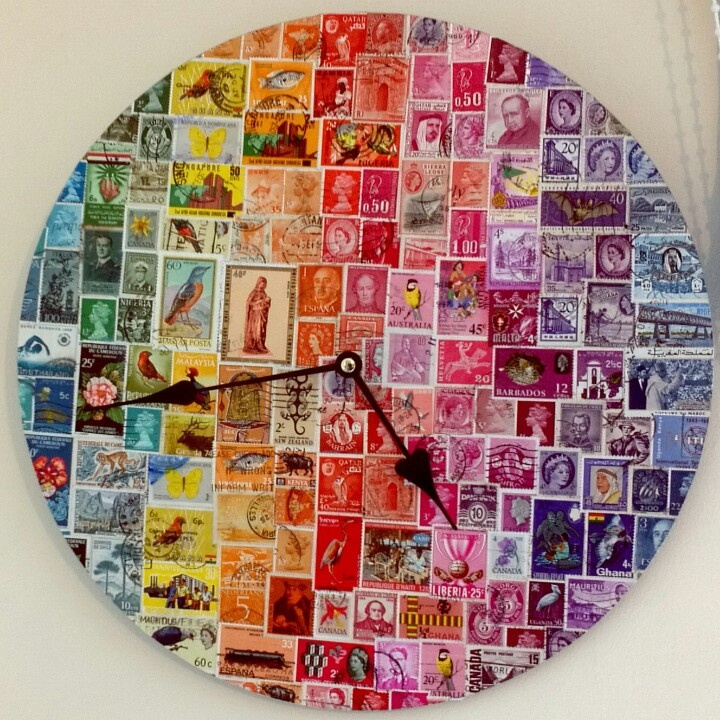 World stamp clock.  Wall clock decoupaged with stamps from all over the world.