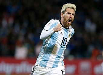 Lionel Messi celebrates after scoring the first goal during a match between Argentina and Uruguay as part of FIFA 2018 World Cup Qualifiers at Malvinas Argentinas Stadium on September 01, 2016 in Mendoza, Argentina.