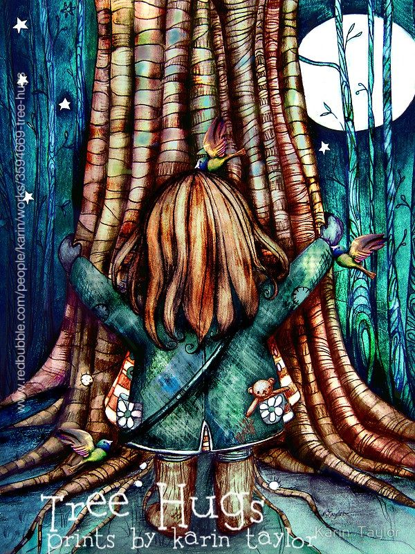 Tree Hugs prints and cards by Karin Taylor http://www.redbubble.com/people/karin/works/3594669-tree-hugs FB www.facebook.com/karintaylor.online Web www.redbubble.com/people/karin