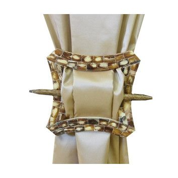 EuropaTex, Inc. EuropaTex Curved Square Brooch Curtain Tieback in Cream Gold  For a romantic bedroom window treatment or bathroom.