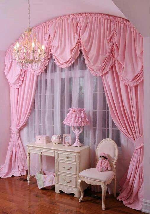 Girls room curtain falls pinterest room bedrooms for Barbie dream house bedroom