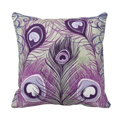 Pretty Purple Peacock Feathers Elegant Design Throw Pillow
