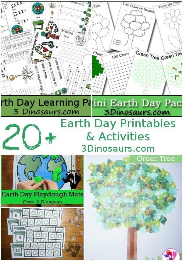 Earth Day Printables & Activities on 3 Dinosaurs - abc, numbers, themed packs, crafts, painting and hands-on activities and more- 3Dinosaurs.com #earthday #earthdayprintables #3dinosaurs