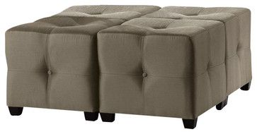 Powell Bombay Langham Ottoman in Black Finish - transitional - Ottomans And Cubes - Cymax