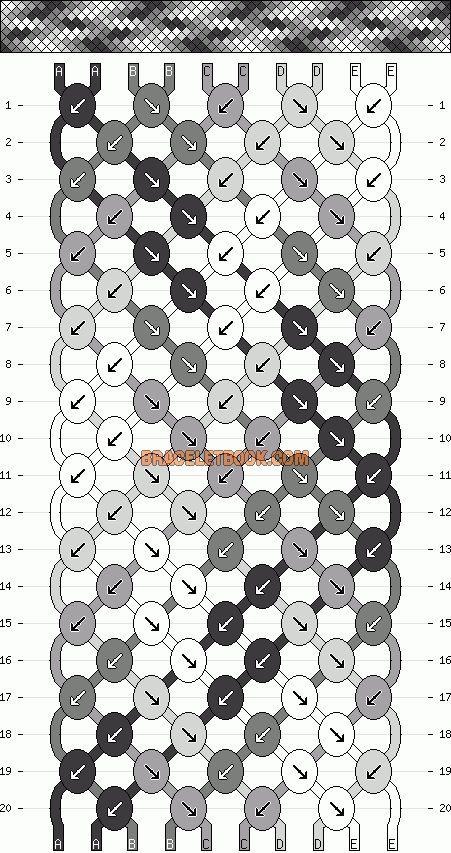 Normal Friendship Bracelet Pattern #6305 - BraceletBook.com