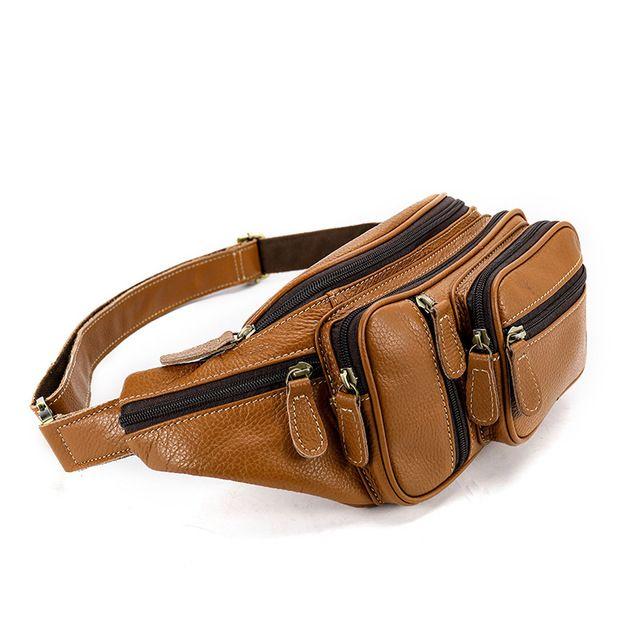 Men/'s Genuine Leather Fanny Pack Waist Bag Chest Pack Shoulder Crossbody Bags