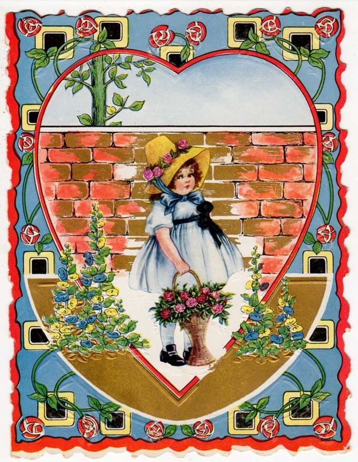 1920s Art Deco Valentine Cute Girl Carrying Basket of Flowers
