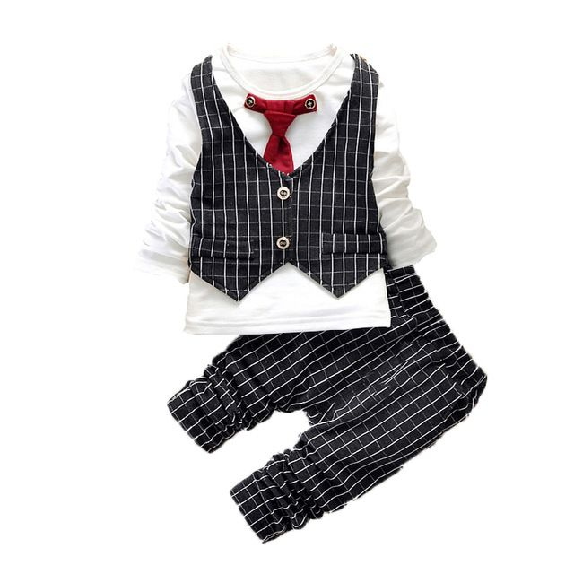 【 $10.78 & Free Shipping 】2016 Fashion Boy Clothes Sets Gentleman Suit Toddler Clothing Long Sleeve Kids Birthday Outfits   worth buying on AliExpress