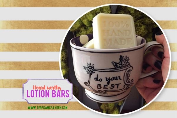 """I want to share one of my favorite recipes with you today! I never use the  word """"amazing"""" lightly, so I am not kidding when I say this recipe for  lotion bars is amazzzing. It's better than the lotion bars I used to get  from Lush. I know I know....I love Lush, but these lotion bars ar"""
