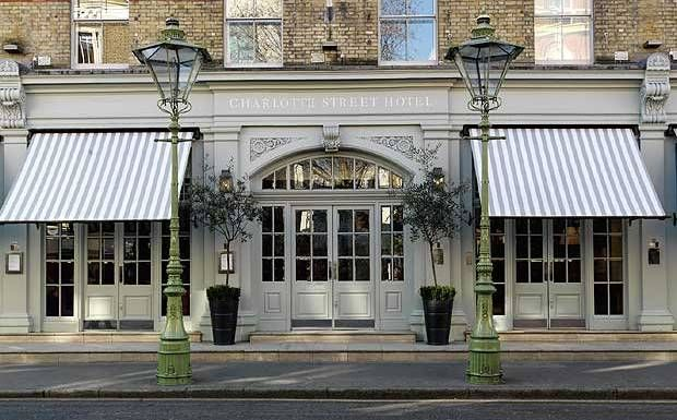 The Charlotte Street Hotel, in London's Bloomsbury, is a boutique hotel with spacious rooms and a lively bar and restaurant. - Best cocktail place!