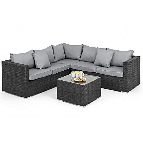 San Diego Dallas Baby Rattan Garden Furniture Grey Porto Corner Set