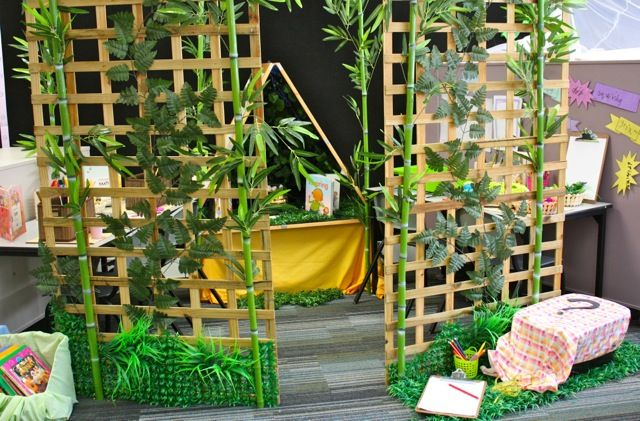 "Trellis to divide an area ("",)  Tack to wall, glue clothes pins; display children's art work!"