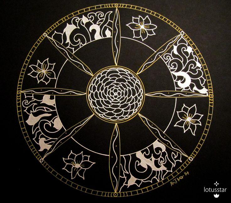 'Dahlia Mandala' in metallic ink by Elizabeth James. Original available via http://www.facebook.com/media/set/?set=a.675692062503221.1073741835.318539891551775&type=3  #dahlia #mandala #zendala #zentangle #doodle #ink #art #elizabethjames #lotusstar #adelaide