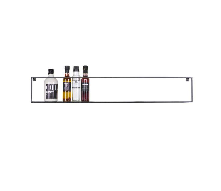 WOOOD Meert wandplank zwart metaal, 100 cm - Zwart. Karwei