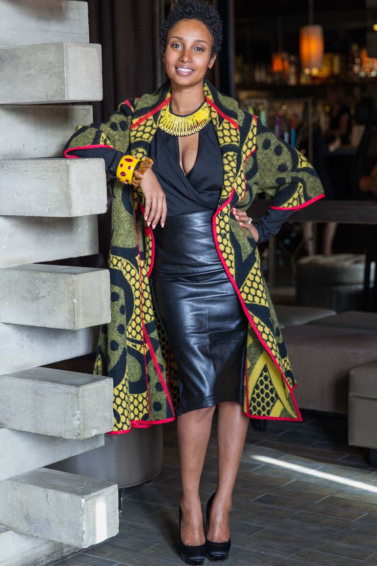 Senait in Thabo Makhetha #basotho #blanketcoat and #quazidesign collar. InspiredLuxe.com || #inspiredluxe #culturedstyle #worldstyle #globalstyle #fashion #sanfrancisco #launchevent #onlineshopping #african #indian #turkish #moroccan #homedecor #interiordesign #jewelry #handmade #handcrafted #artisan #fairtrade #ethicalfashion #socialenterprise #artisanmade #accessory #necklace #beaded #basotho #traditional #tribal #ethnic #denisebradleytyson