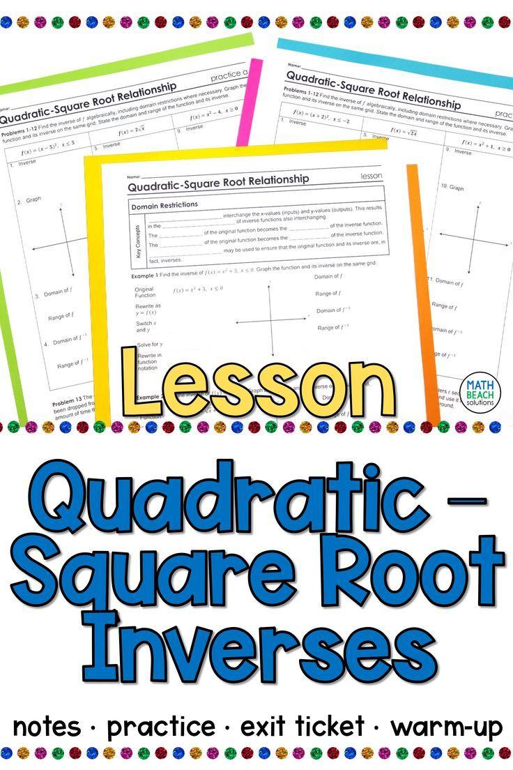 QuadraticSquare Root Inverse Functions Lesson in 2020