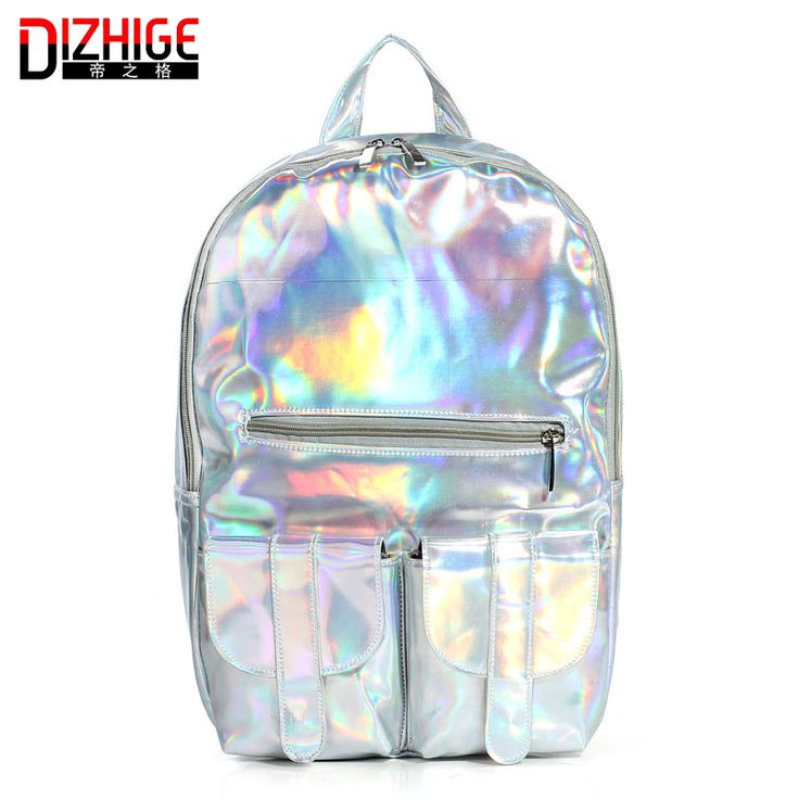 2016 Mochila Masculina backpack Women Silver Hologram Laser Backpack men's Bag leather Holographic Backpack Multicolor -- Check out the image by visiting the link.