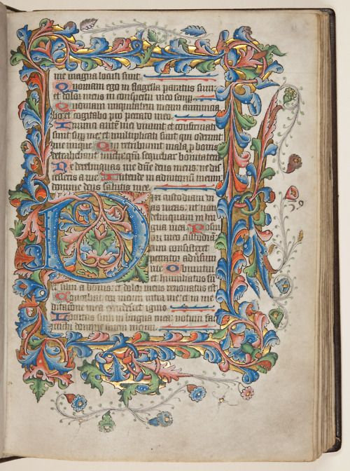 Fifteenth century Psalter from the special collections department of the University of St Andrews, in Scotland.   Image source: University of St Andrews MS BX2033.A00, from the University's Echoes from the vault blog, and Creative Commons licensed.