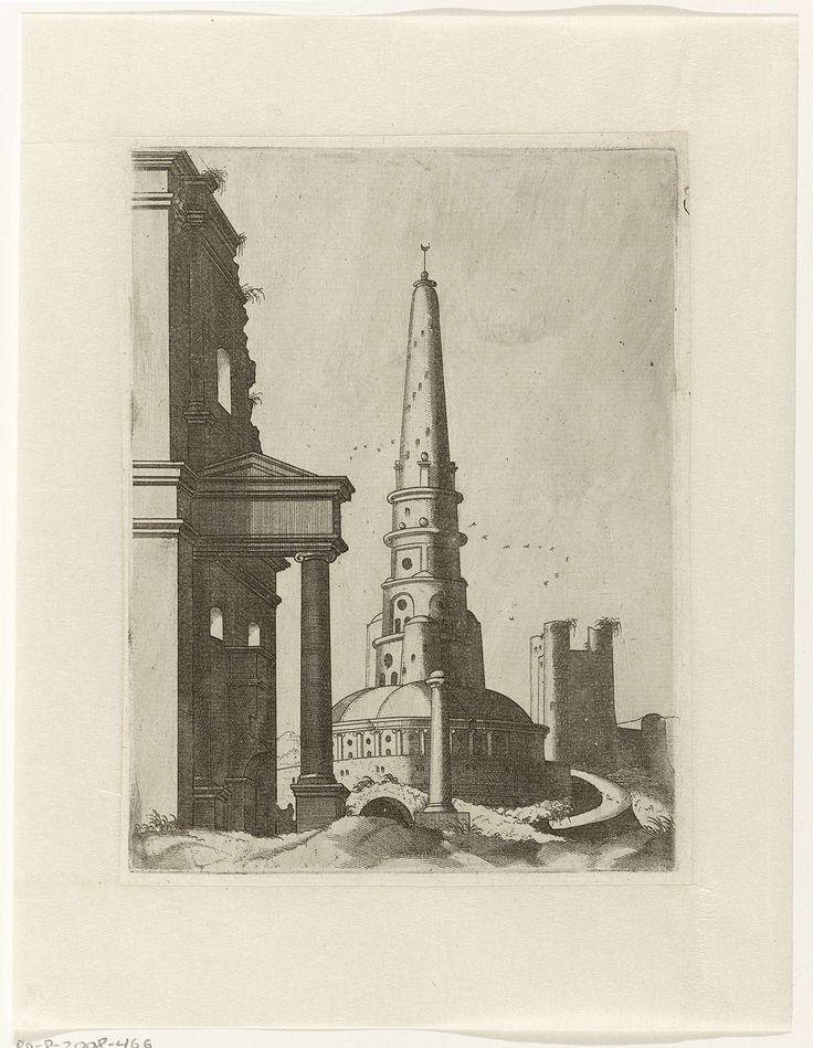 Lambertus Suavius | Hoge ronde toren, Lambertus Suavius, Gerard de Jode, 1560 | Centraal een hoge ronde toren met bovenop een halve maan. Links een klassieke ruïne. Rechts een bastion met ronde torens op de hoeken.