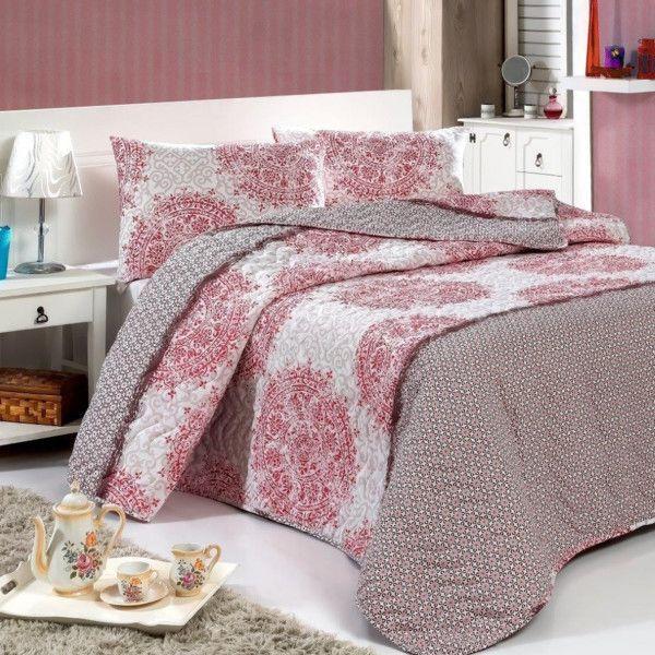 Sada prešívanej prikrývky na posteľ a dvoch vankúšov Roma, 200x220 cm