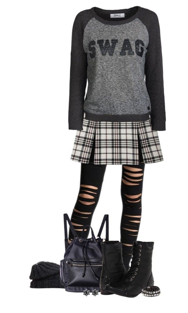 """""""* Distressed Leggings *"""" by alice325 ❤ liked on Polyvore featuring Grevi, Naughty Monkey, Diesel, Konplott, Carven, ONLY and tartanwoolmini"""