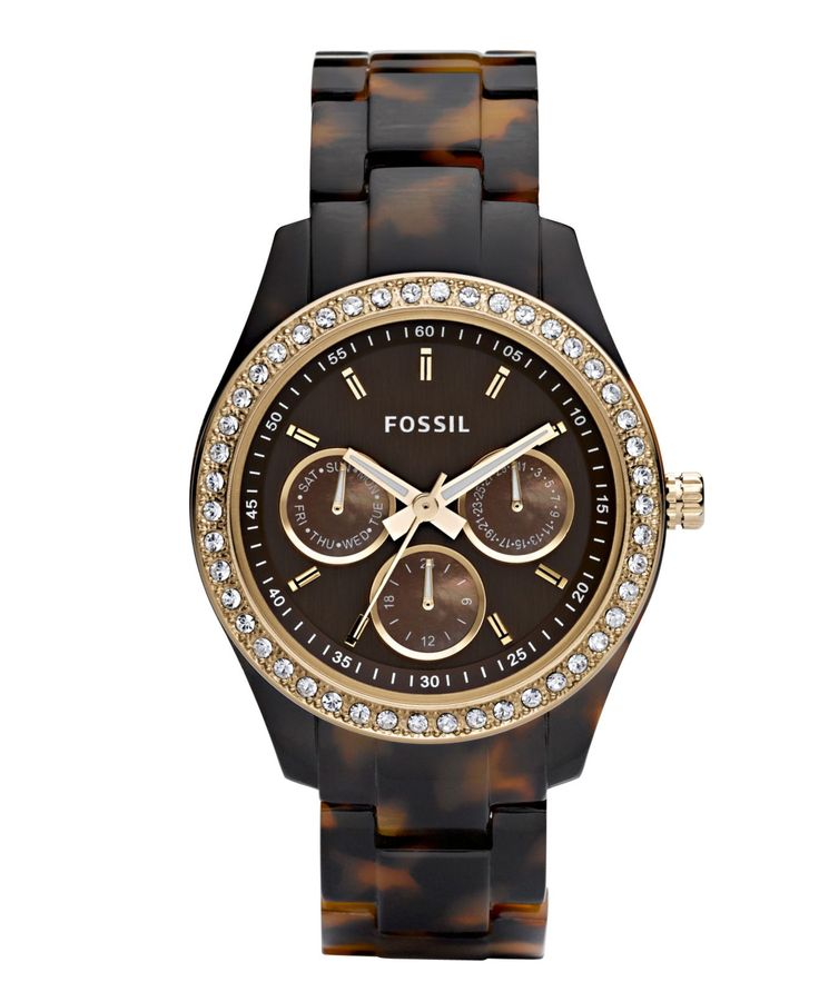 Fossil Women's Stella Tortoise Resin Bracelet Watch 37mm ES2795Preciously