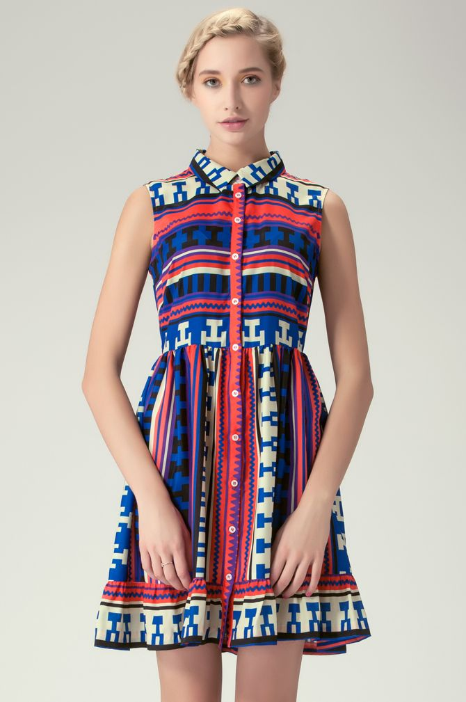 Royal Blue and Red Sleeveless Aztec-Print Shirt Dress