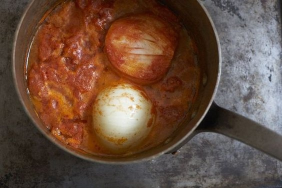 Marcella Hazan's Tomato Sauce with Onion and Butter via food52: Genius recipe with tomatoes, butter and onion.   #Tomato_Sauce #Marcella_Hazan #food52