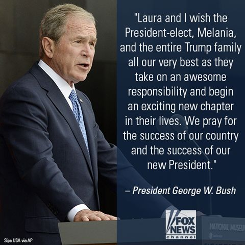 Best wishes to President Donald Trump from President George W. Bush