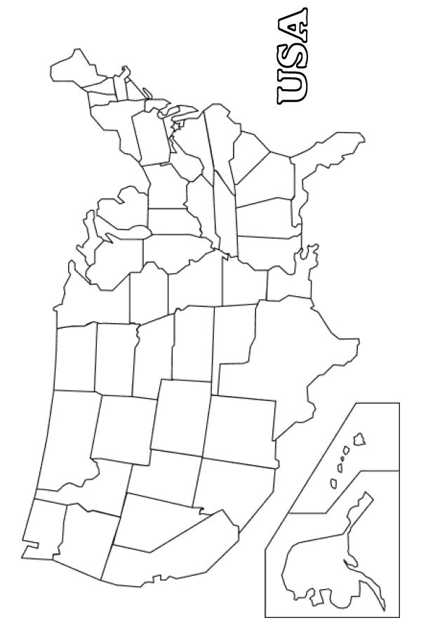 Map of America coloring page - Free Printable Coloring Pages