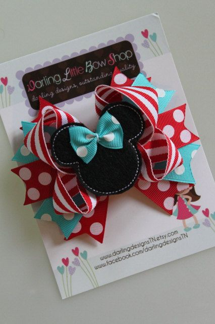Minnie Mouse Bow -turquoise red and white- Darling Little Bow Shop. $9.95, via Etsy.