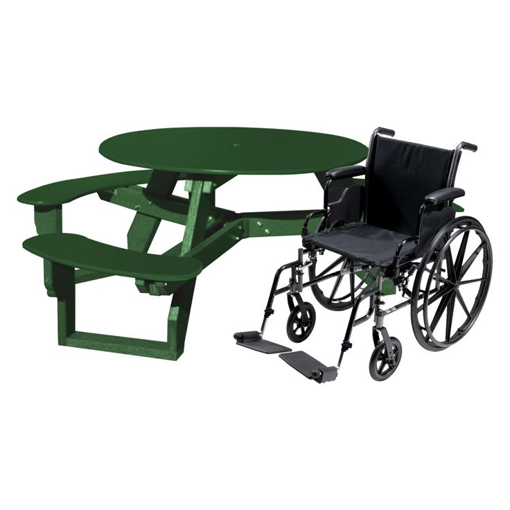 Outdoor Polly Products Open Round ADA Recycled Plastic Picnic Table - ASM-ORTHA-BLK-BLK