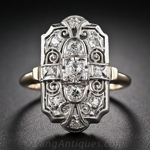 Art Decó anillo  de diamantes