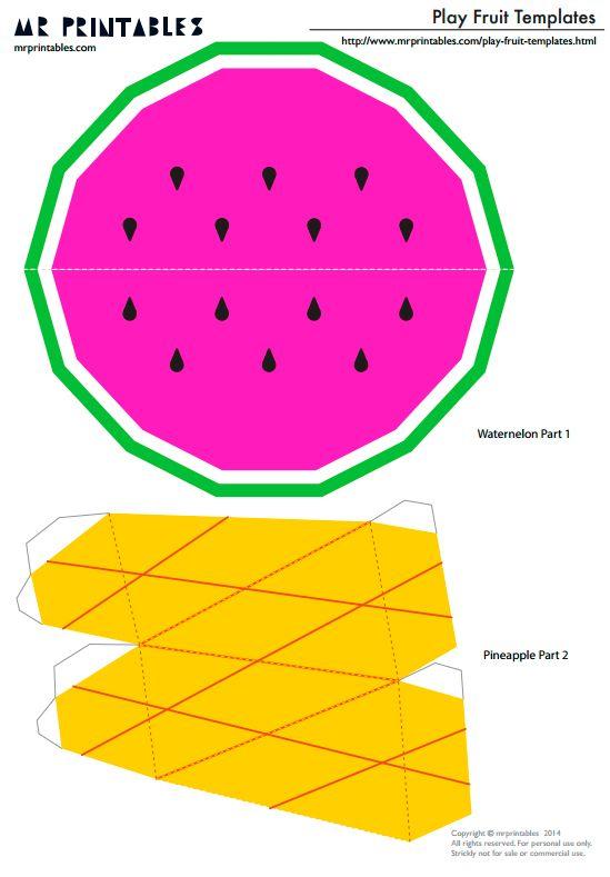 Шаблоны фруктов из бумаги для детей для вырезания и склеивания - арбуз, ананас