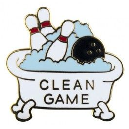 "This beautiful ""Clean Game"" lapel pin will help you ensure you don't leave a single frame empty. Perfect lapel pin to add to your bowling accessories! Approximate size - 1"" x 3/4""."