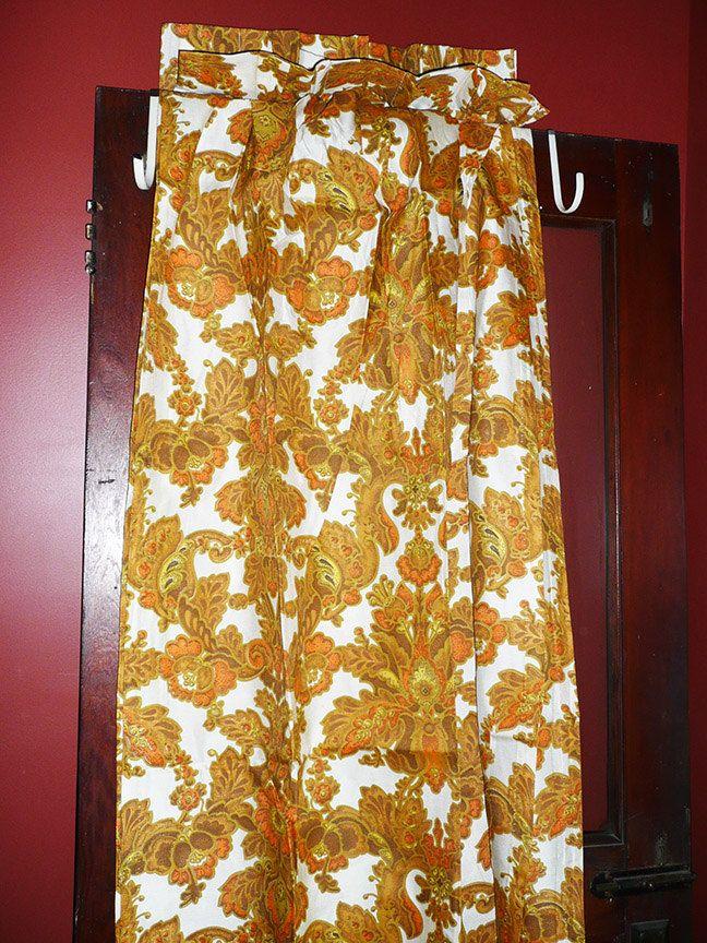 Retro Vintage Gold Floral Curtains,48x84,Vintage Curtains,B&G Vintage Draw Draperies,Gold Foral Draperies,Retro Curtains,BRAND NEW by JollieSweets on Etsy