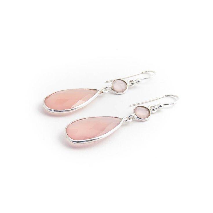 Dubbele roze oorbellen met chalcedoon in sterling zilver
