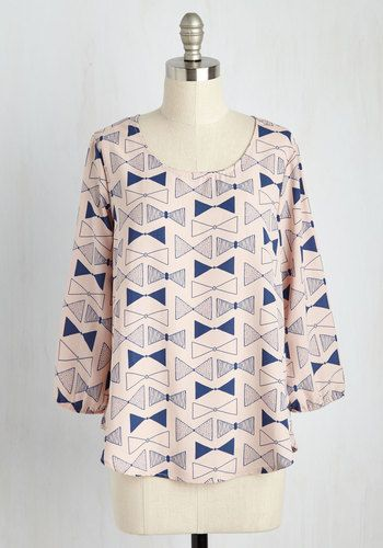 Whatever Flows Your Bows Top. Pronounce your personal style sweet by sporting this airy top. #blush #modcloth