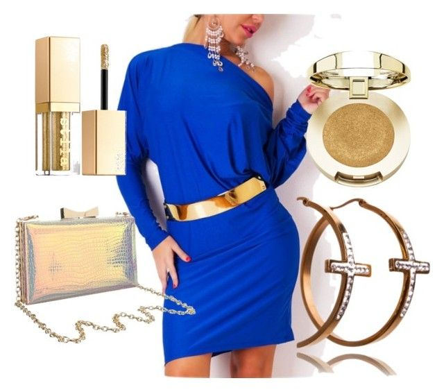 """Gold-royal set"" by maniaxtreme on Polyvore featuring Milani and Stila"