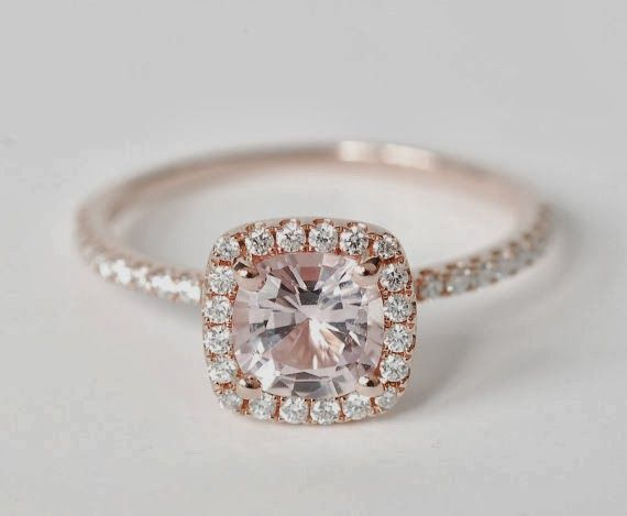 see more Amazing and Beautiful Peach Pink Cushion Sapphire Diamond Engagement Ring