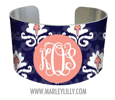 Monogrammed Navy and Coral Ikat Cuff Bracelet