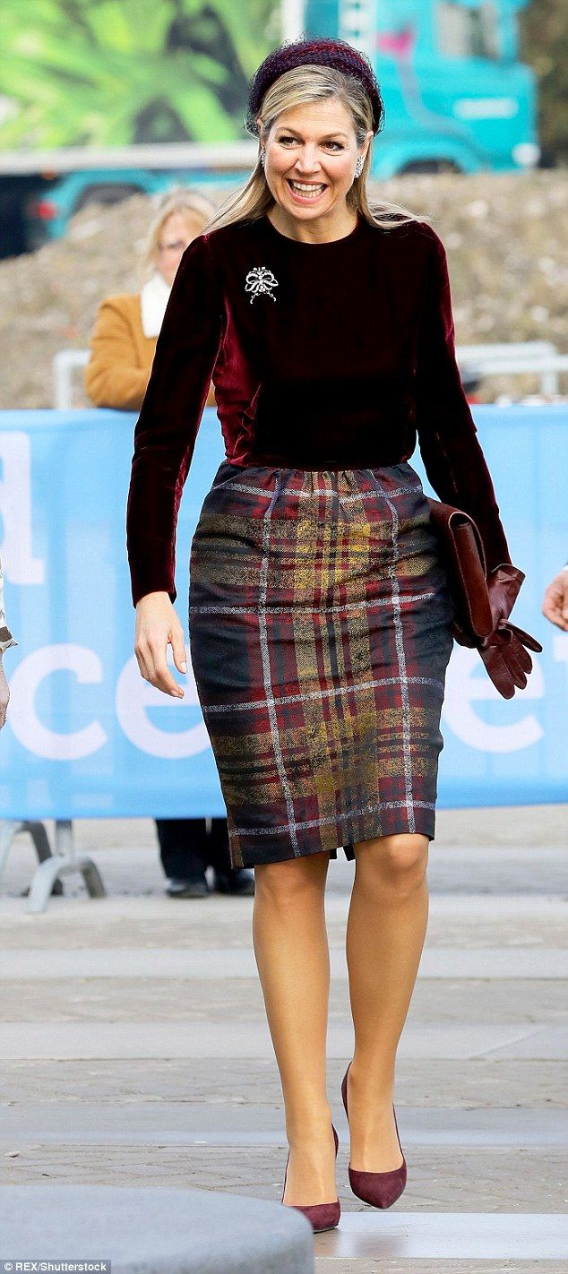 Queen Maxima of the Netherlands opted for royal red as she attended the opening of the Wor...