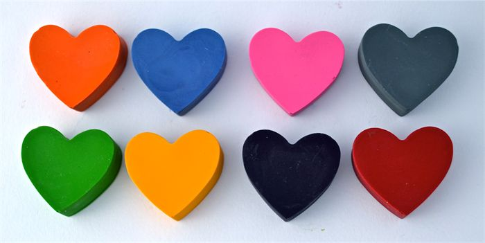 Heart Crayons - Set of 8. Made by Poppiisox.
