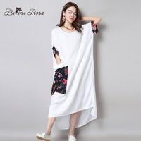 2016 Элегантный Рубашка Платья женщин Длинные Рубашки Платья Китайский Цветочный Карман С Коротким Рукавом Макси Белые Платья (BelineRosa BR0002)