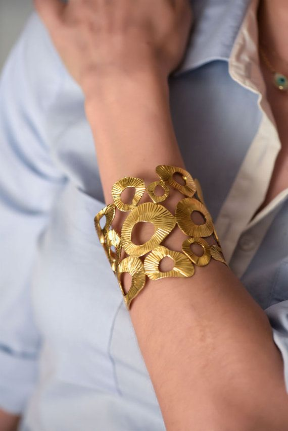 Summer Pebbles Cuff bracelet Gold Plated bracelet Ancient