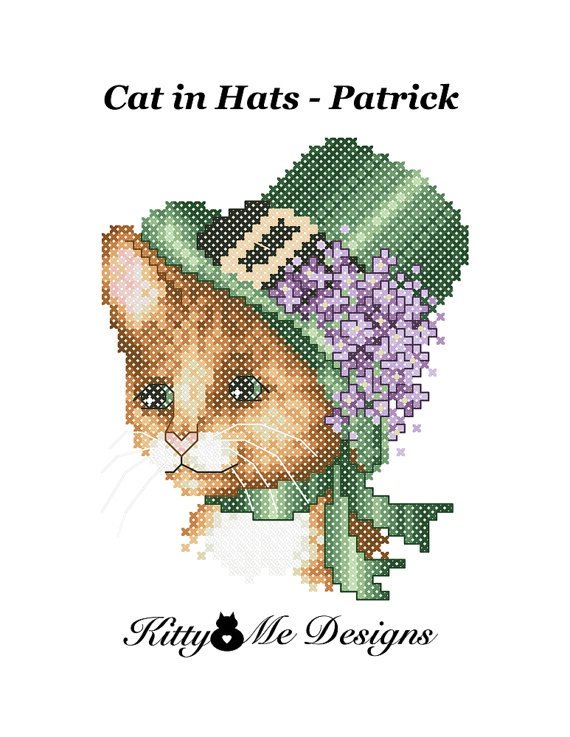 Cross Stitch Pattern PDF  Cats in Hats Patrick  by arcadecache, $8.95