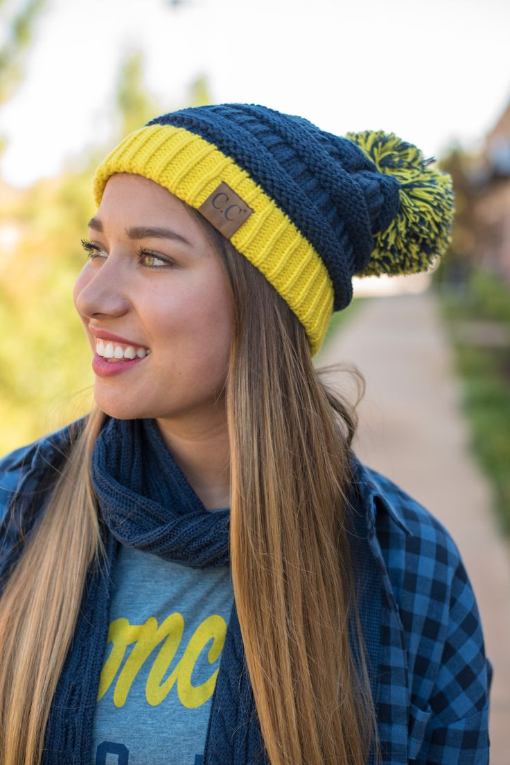 CC gameday beanie with knit pom navy/yellow from Lush Fashion Lounge